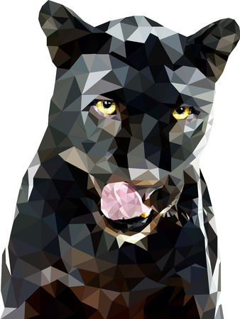 black and white panther: panther polygon art