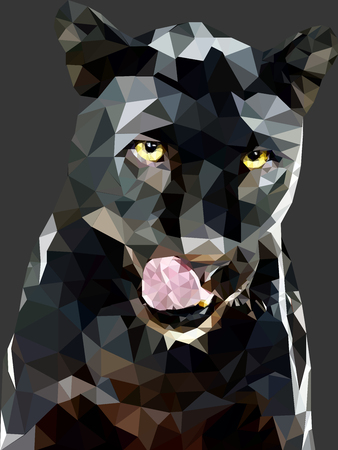 black and white panther: panther black background polygon art