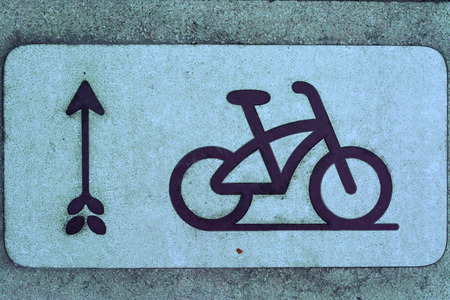 Bicycle road sign and arrow