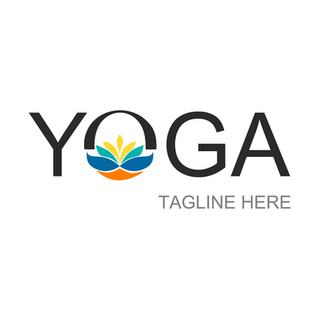 Illustration of the inscription yoga, for use in the logo, instead of the letter o depicted a lotus of multicolored paints, and below the words the name of the company, vector illustration