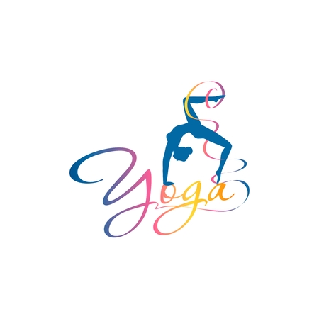 The silhouette of a girl standing in a pose with a curved back and curly inscription of the word yoga Stockfoto