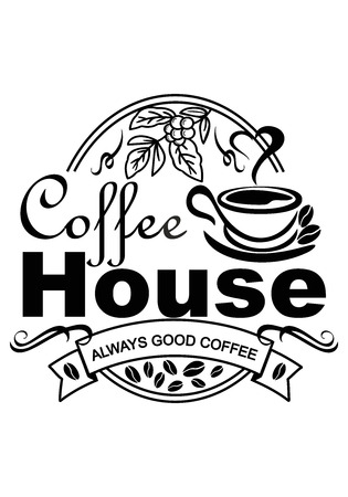 advertising poster for coffee shop on a white background, black color, a cup of coffee from which steam comes in the shape of a heart, grain depicted, vector illustration