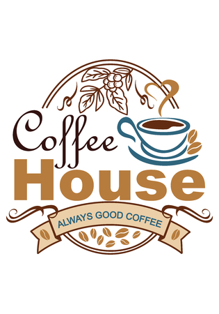 advertising poster for a cafe on a white background, painted with color images, a cup of coffee from which steam comes in the shape of a heart, grain depicted, vector illustration