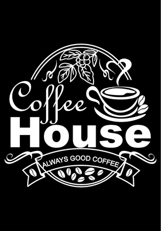 advertising poster for a cafe on a black background, filled with white color, a cup of coffee from which steam comes in the shape of a heart, grain depicted, vector illustration Stock Illustratie