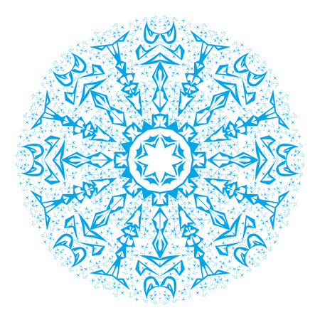 Illustration of a blue snowflake, abstraction image with crucifix Stockfoto