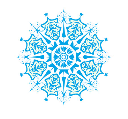 Illustration of blue snowflakes, Christmas trees are depicted and snow pours Stockfoto