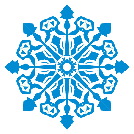 Illustration of a blue snowflake, thickened lines are depicted in a rougher way. Standard-Bild