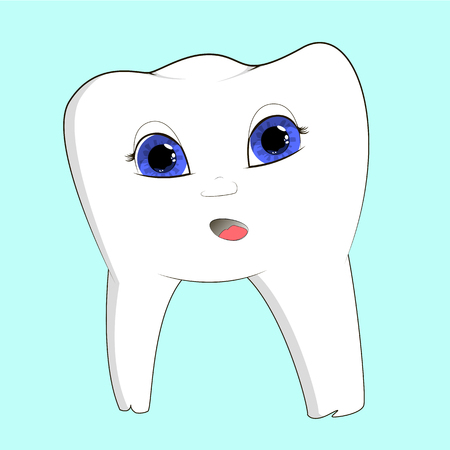 illustration of a tooth on a uniform background with a face, cartoon character