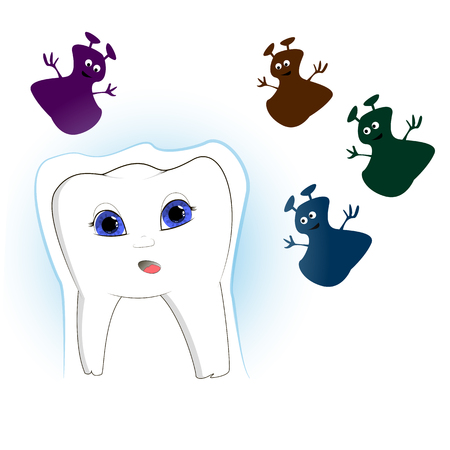 vector illustration of a tooth that is attacked by funny microbes, and the tooth is protected around it Vettoriali