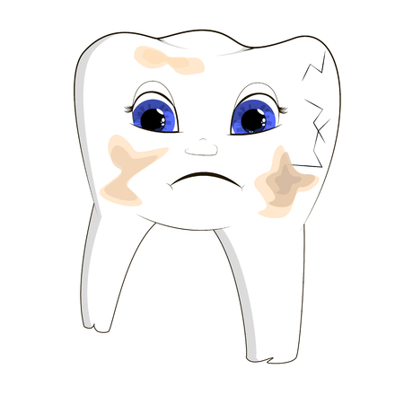 vector illustration of a sick, split, dirty tooth, cartoon object, with expression on face disorder