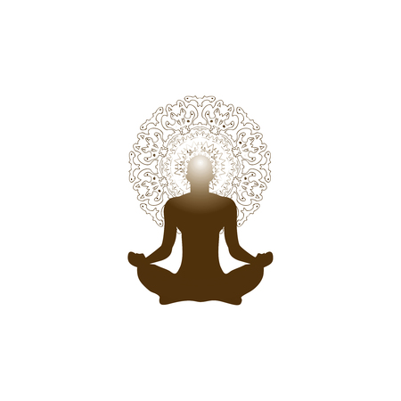 illustration, a person in a lotus position engaged in meditation, a glow in the head, and on the background of the mandala, a template for the logo