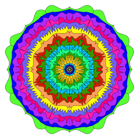 illustration of a colorful mandala, an unusual pattern arbitrary invented, viteevatny patterns repeat symmetrically Stok Fotoğraf