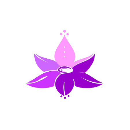 illustration, purple lotus flower, consisting of six lepistks with shadows and light, template for a logo