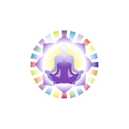 illustration, a person in a lotus position engaged in meditation, a glow in his head, and on the background of a mandala painted in color patterns, a template for a logo Stockfoto