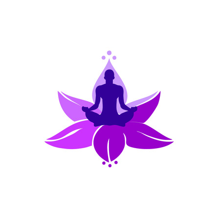 illustration, a person in a lotus position engaged in meditation, a glow in the head, and against the background of a lotus flower of purple color, a template for a logo