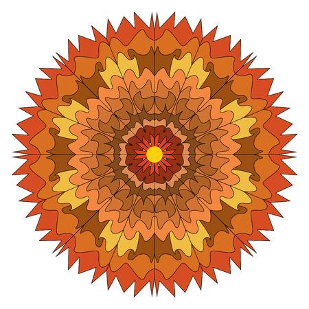 illustration of a mandala of brown shades, unusual drawing similar to autumn leaves Stockfoto