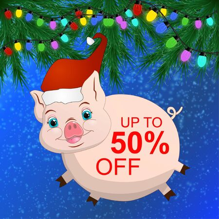 New Years banner for discounts on sale, with the image of a cartoon pig, branches of spruce, multicolored garland
