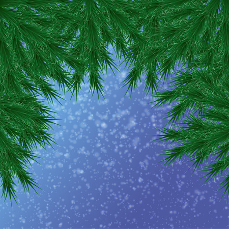 For Christmas card on a blue background, with falling snow on top of a Christmas tree branch Stock Illustratie