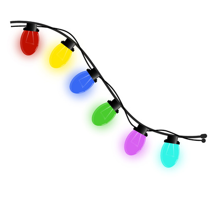 Vector illustration depicts a garland with different colors of a light bulb, a fragment when copying is an extension of a wire, light bulbs shine with color, isolate on a white background