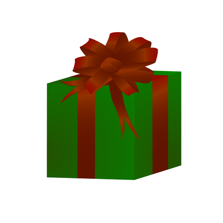 Vector illustration depicts a gift box of green color with a red bow.