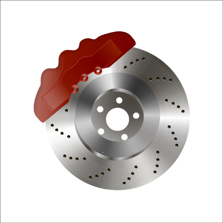 brake disc in vector, with red caliper, heat ventilation, isolated on white background