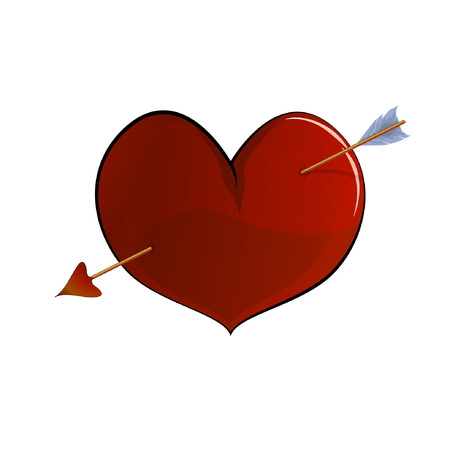 Red heart, volumetric drawing, pierced by an arrow of cupid, vector, Valentines Day, suitable for greeting cards