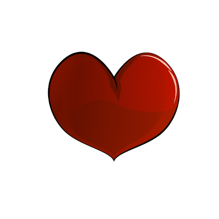 Red heart, three-dimensional drawing, vector, Valentines Day, suitable for greeting cards Stock Illustratie