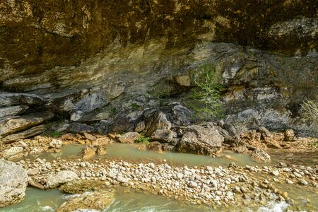 Mountain river boils between stones