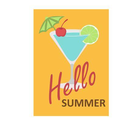 Summer poster, for advertising, beach, fruit, umbrella, ice cream, drink, sun 일러스트
