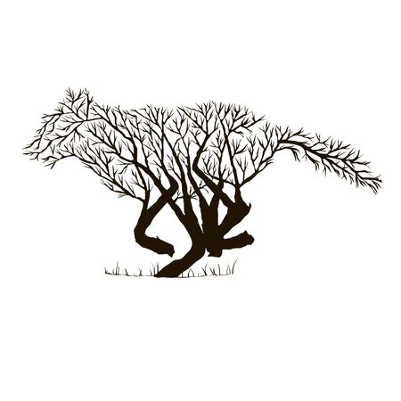 Graphic drawing of animals from branches (birds, fox, bear, deer, etc.) Stock Illustratie