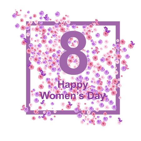 Greeting card for March 8, with flowers in the form of a frame, pleasant colors for girls Stock Illustratie