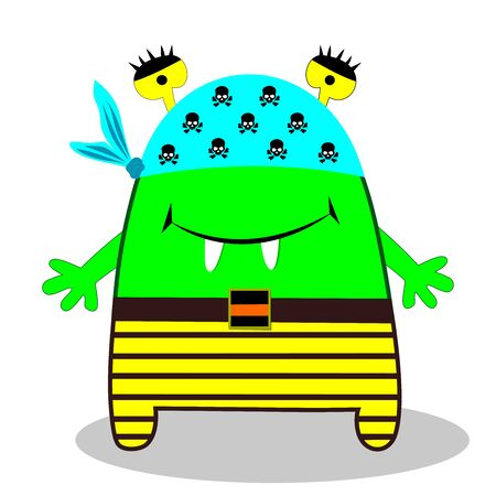 Cartoon monster of green color, in clothes, on a holosha a scarf with skulls, striped pants, eyes above his head, sharpening two teeth