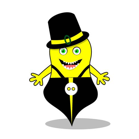 Cartoon monster of yellow color, in a hat, pants with straps, smiling visible teeth, on a white background 일러스트