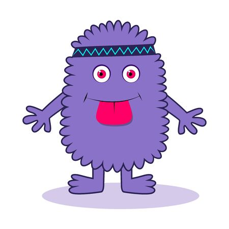 Cartoon monster of violet color, fluffy, with his tongue hanging out, playing sports, forehead bandage, on white background
