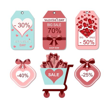 Labels with discounts for Valentines Day, vector graphics, magazine trolley with gifts inside, hearts, envelope from which flying out hearts