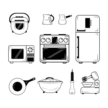 Vector illustration set of black and white icons for kitchen, refrigerator, microwave, cartoon, electric cooker, blender, frying pan, kettle,