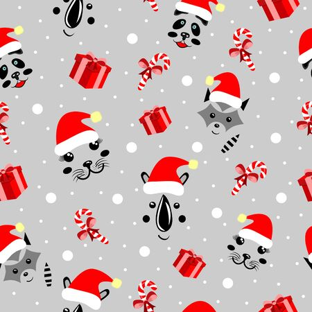 Christmas pattern animals, cute mordochki with new years hats, panda, rhino, sea corner, units, gray backgrounds parapets, ledency, snowflakes