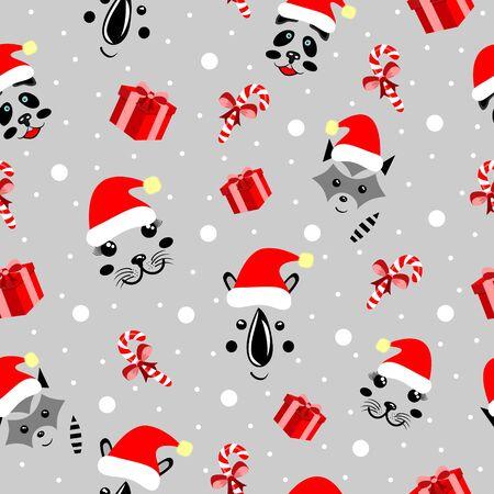 Christmas pattern animals, cute mordochki with new years hats, panda, rhino, sea corner, units, gray backgrounds parapets, ledency, snowflakes