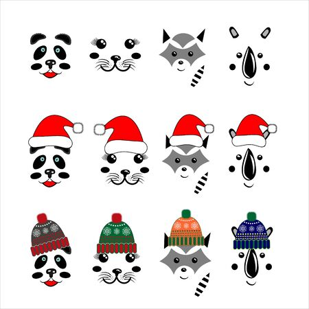 Set of cute animal faces - simple art - panda, rhino, raccoon, fur seal. In Christmas hats and knitted hats, vector illustration, isolate on a white background