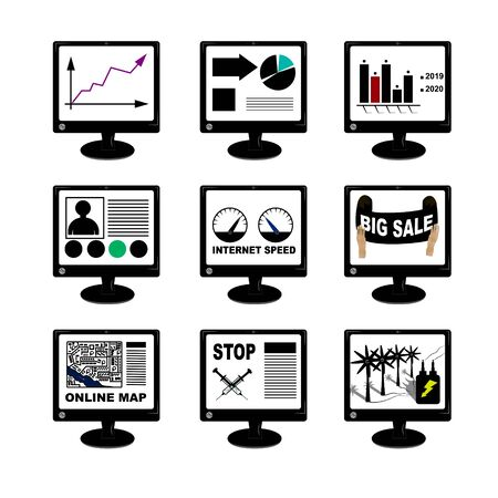 Set of monitors with information, computer screen with screens of financial charts, graphs and other information isolated on white background, vector. Drugs, internet speed, online maps, blog, discoun