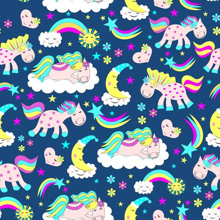 Seamless pattern of cute horses lying on the clouds, a rainbow emerging from the clouds, the sun, the moon in the form of a month, cartoon pattern Illustration