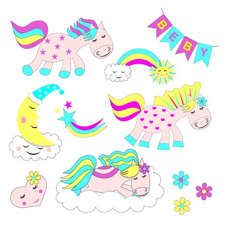 Set of cute cartoon cute horses, pink ponies vector illustrations set with cute graphic elements such as rainbow, star, moon, sun