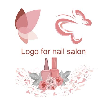Set of logos for a nail salon, cute butterfly drawings, nail polish jars, butterfly wings, flowers, varnish spray. Pleasant pink, for use in the design of the site, business cards