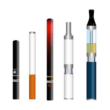 Illustrazione vettoriale di sigarette elettroniche isolato su sfondo bianco, immagine realistica, diversi tipi di sigarette a batteria, per l'uso in pubblicità, modelli, biglietti da visita Vettoriali