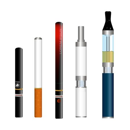 Vector illustration of electronic cigarettes isolated on white background, realistic image, different types of cigarettes on battery, for use in advertising, patterns, business cards
