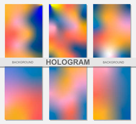 Vector illustration of a set of holographic backgrounds pink, yellow, blue, orange, a popular combination of colors, can be used as a background for covers, books, notebooks, notebooks Vektorové ilustrace