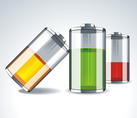 bateria:  Iconos de batería con niveles diferentes de carga sobre fondo negro, ilustración vectorial