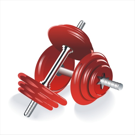 Dumbell weights, isolated on a white background with subtle shadow