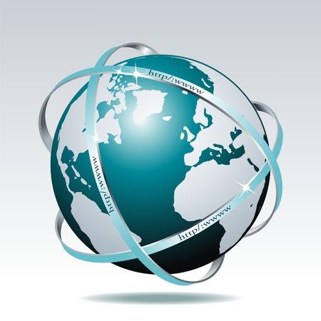 Globo y el detalle del mapa del mundo. Ilustración de vector