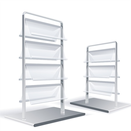 product display: Empty shelves for the goods in shop, supermarket or library, store vector illustration  Illustration